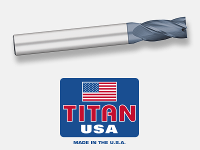 1 Cutting Diameter Titan TE69563 High Speed Steel End Mill 4-1//8 Overall Length 3//4 Shank Diameter 30 degree Angle Helix Square End AlTiN Coated Non Center Cutting 1-7//8 Length of Cut